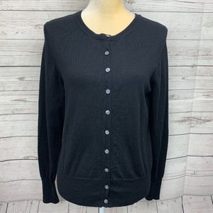 Banana Republic Black Italian Merino Wool Cardigan